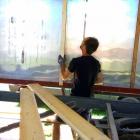 Nasazování latě / T-profilu v interiéru maringotky